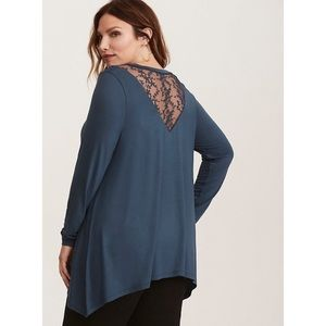 Torrid Super Soft Knits Lace Inlay Tunic Tee Top